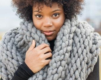 Grey Knit Blanket Scarf, Blanket Cowl, Super Bulky Scarf, Knit Scarf, Shawl, Chunky Infinity Scarf, Knit Circle Scarf, Grey Scarf
