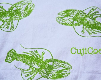 Screen Printed Organic Cotton Lobster Flour Sack Tea Towel - Kitchen Towel for Dishes