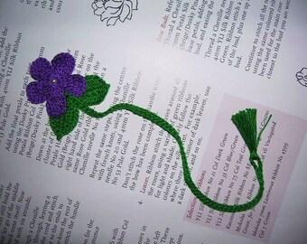 Handmade  Crocheted  Dark  Purple  Violet   Flower   Bookmark,Bookmarks,Gifts,School.Office