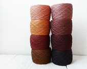 Linen Yarn in dark  Brown and harvest gold - autumn collection, Yarn for crochet, knitting, weaving.