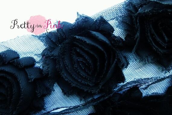 Black Shabby Rose Trim 1/2 Yard...Shabby Flowers...Shabby Flower Rose Trim...Chiffon Flower...Shabby Chic...Rose Trim