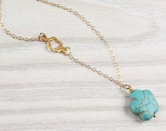 "Turquoise flower necklace, asymmetrical necklace, turquoise gold necklace, chrysanthemum necklace, tiny flower necklace, wedding, ""Leon"""