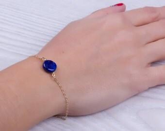 "Lapis lazuli bracelet, blue lapis bracelet, lapis lazuli jewelry, blue bridesmaid, gold bracelet, stone bracelet, something blue, ""Adrasteia"