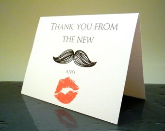 Thank you from the NEW Mr. and Mrs. Lips & Mustache Card