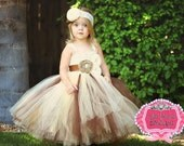 Country Dream-Ivory, Brown and Champagne flower girl tutu dress with removeable sash perfect for Rustic/Country Weddings