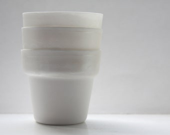 Mother of pearl pot. Pure white fine bone china planter with a hint of mother of pearl