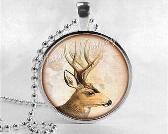 DEER Necklace, Deer Pendant, Deer Jewelry, Deer Charm, Glass Photo Art Pendant Charm, Animal Jewelry