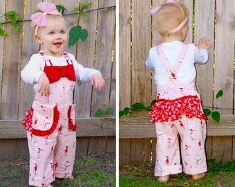 Baby romper pattern PDF, overalls pattern, ruffle romper, baby girl pants pattern,  toddler sewing pattern pdf, CHELSEA