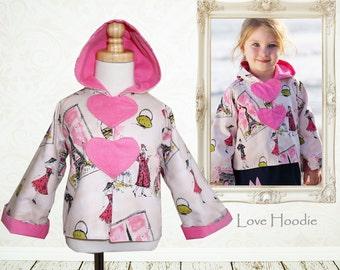 Girls jacket pattern, childrens sewing pattern pdf, girls pattern pdf, coat pattern, winter sewing pattern, girls sewing pattern LOVE HOODIE