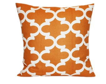 Quatrefoil Pillow Cover Any Size Orange and White Pillow Cushion Covers with Invisible Zipper