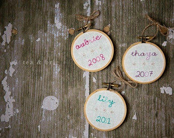 CUSTOM SET of THREE personalized hand embroidery hoop ornament commemorative first christmas