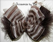 Fancy Hair Bow Brown Stripes Marabou Velvet Girls Party Occasion Pageant