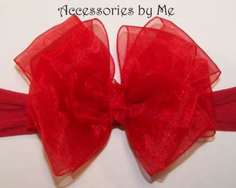 Red Bow Headband, Interchangeable Nylon Band, Organza Ribbon Alligator Clip 2pc Set, Girls Infant Newborn Babies 1st Christmas Holiday Gift