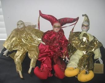 Three Vintage Porcelain Jester dolls by Premier Dolls