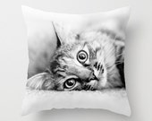 Cat Pillow Cover - Kitten Pillow Case - Cute Kitten Pillow - 16x16 18x18 20x20 Pillow Cover