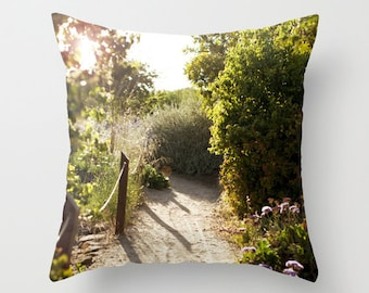 Sunset Pillow - Nature Pillow Case - Walking Path Pillow - 16x16 18x18 20x20 Pillow Cover