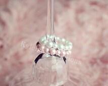 Set of two baby bracelets, baby bracelets, baby girl jewelry, baby jewelry, pink bracelet, white pearl bracelet