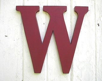 "Wooden Letter W Wall Hanging Monogram 12"" Kids Distressed Red Flamenco Times serif"