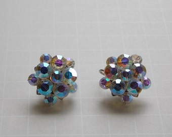 Vintage Crystal Aurora Borealis Rhinestone Clip On Earrings