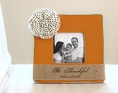 Personalized Family Burlap Picture Frame Gift Fall Thanksgiving Autumn Be Thankful Rustic
