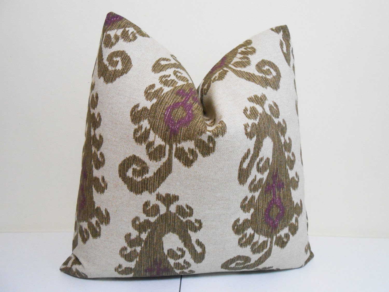 Olive Green Decorative Pillow : Purple Olive Green Ikat Decorative Pillow Cover by ZourraDesigns