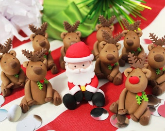 Edible Fondant SANTA and Rudolph Cake or Smash Cake Topper - 1 qty Sugar Rudolph and 1 qty Santa