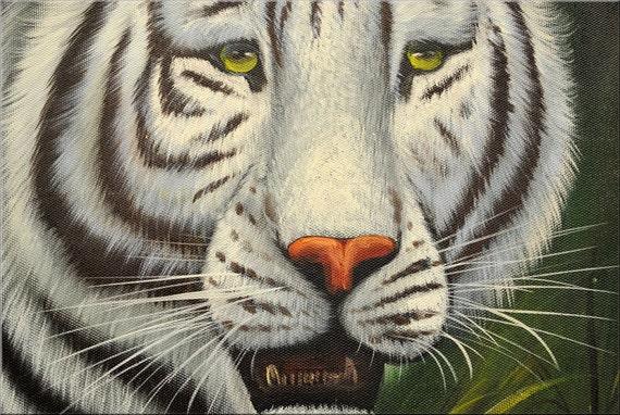 Original Wildlife Painting Acrylic Painting White Tiger
