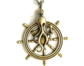 Kraken Ship's Wheel Necklace brass octopus Steampunk necklace Handmade Gift