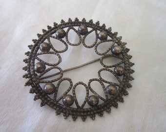 Antique Sterling Silver Very Fancy Circle Brooch Pin Wonderful