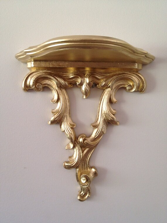 Wall Sconces Shelf : Ornate Gilt Wall Sconce with Shelf by VintageLoveAntiques on Etsy