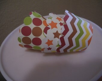 Autumn Cupcake Wrappers  Chevron   Set of 12  Leaves star