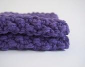 hand knit plushy cotton washcloth in lilac purple