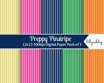 Preppy Pinstripe Digital Paper Pack of 5-- digital scrapbook paper stripe pinstripe web backgrounds photography card making preppy navy blue