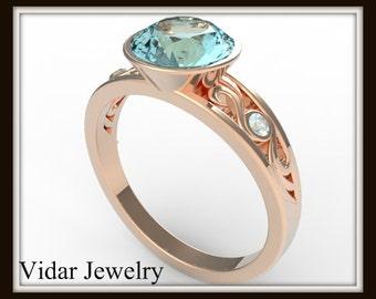 Rose Gold Aquamarine Engagement Ring,Unique Engagement Ring,Aquamarine Ring,3 Stone Engagement Ring,Rose Gold Engagement Ring