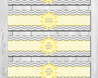 INSTANT DOWNLOAD - Water Bottle Labels - You Are My Sunshine Theme - DIY - Printable