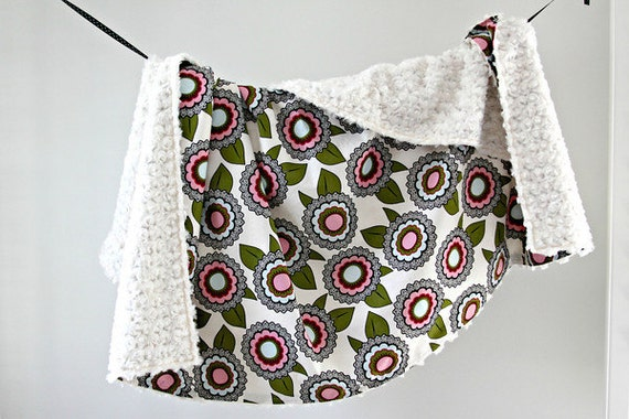 Extra Large Youth Blanket, Morning Flower with Ivory Minky Swirl, Ready to Ship