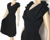 Vintage 1940s Dress Black Hollywood Designer Cocktail Party Garden Party Art Deco Couture Pinup Bombshell Cocktail Femme Fatale Designer