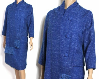Vintage 1960s Suit Matching Scarf Blue Couture Tweed Mad Man Femme-Fatale Hourglass Pencil-Wiggle Rockabilly Garden Party Designer
