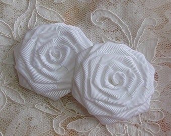 2 Handmade Ribbon Roses (2-1/2 inches) In White MY-145-05  Ready To Ship
