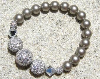 Beaded Pave Stretch Bracelet - Swarovski pearls and metal Pave Bead - smokey grey