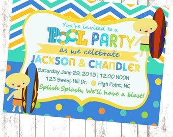 Pool Party Invitation (boys and/or girls)