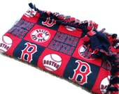 Boston Red Sox Tie Blanket -  MLB Baseball Fleece No Sew Quilt - Small, Medium & Large Sizes - Baby Shower Gift - Minky - Throw / Adult