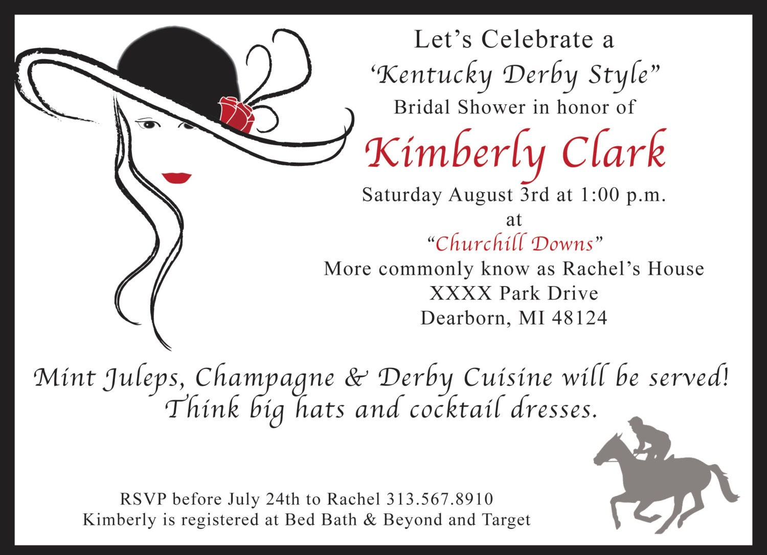 Kentucky Derby Bridal Shower Invitations and get inspiration to create nice invitation ideas