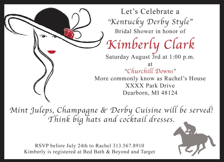 Kentucky Derby Theme Bridal Shower Invitation