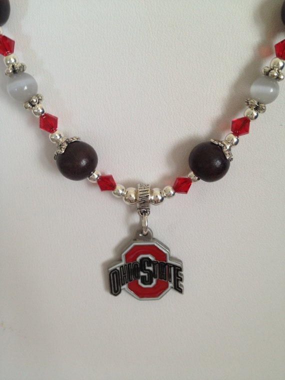 ohio state style necklace s buckeye necklace