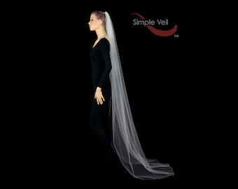 Chapel Length Bridal Veil, Pencil Edge, Simple Veil