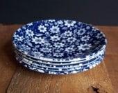 5 Vintage Johnson Brothers Ironstone Saucers Dessert Plates Blue Floral Housewares Serving Entertaining England