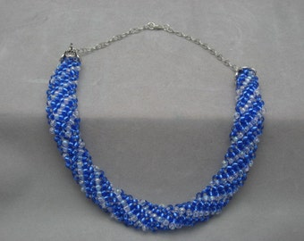 Blue seed beads necklace