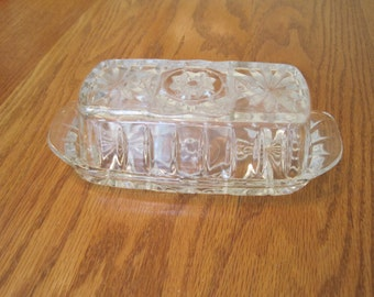 Beautiful Vintage crystal Butter dish 1960's