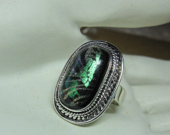 Dichronic Glass Sterling Silver Ring Sizes 8